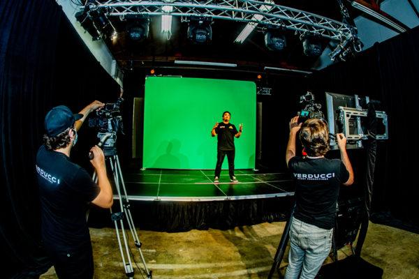 On Screen with Camera Crew in Verducci Studio